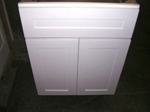 white RTA shaker cabinets with 5 piece drawer front