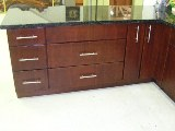 Dark Brazilian Cherry Slab Door RTA cabinets
