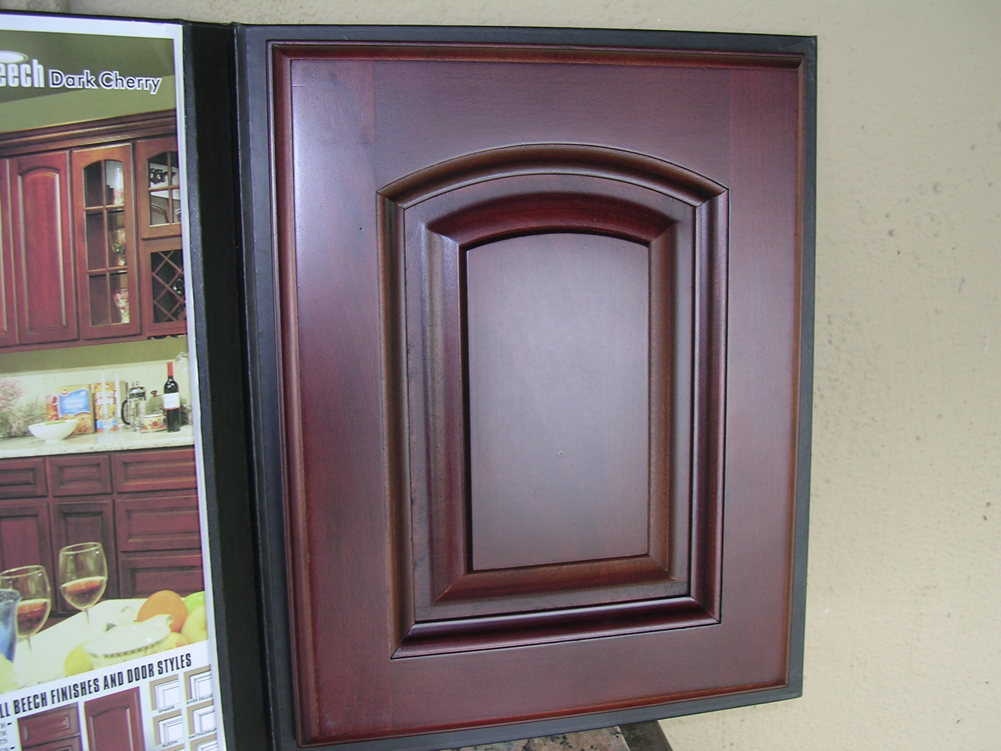 Rta cabinet broker 5h beech dark cherry color arched for Arched kitchen cabinets