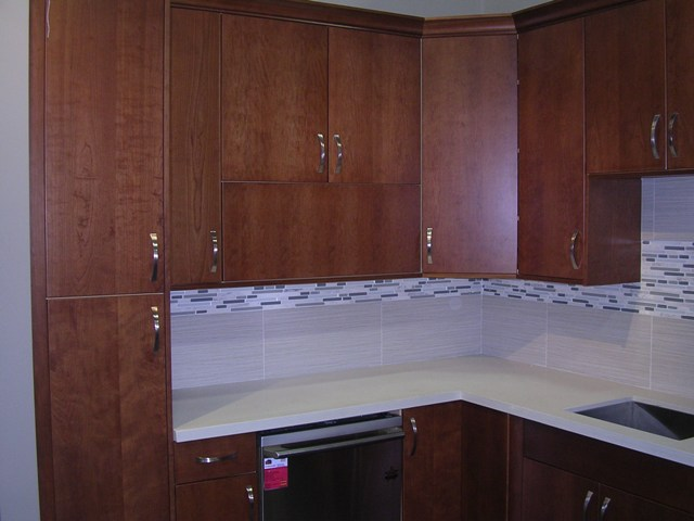 4f Natural Cherry Flat Panel Kitchen Cabinets Photo Album