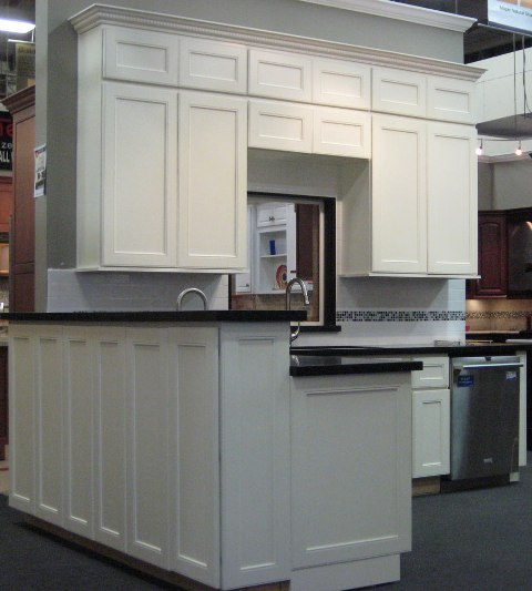 All White Raised Panels Kitchen Cabinets